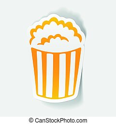 realistico, disegno, element:, popcorn