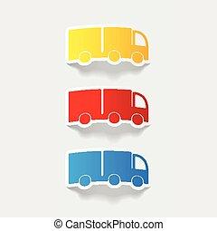 realistico, element:, disegno, camion