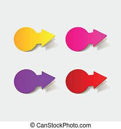realistico, element:, disegno, freccia