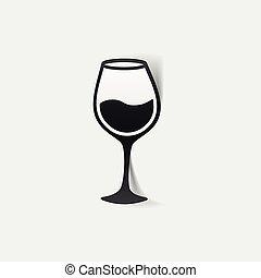 realistico, element:, disegno, wineglass
