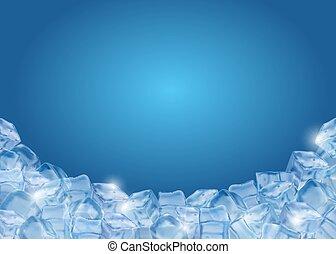 realistico, fondo, cubi ghiaccio