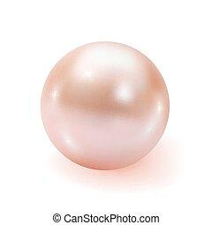 realistico, fondo, isolato, perla, bianco