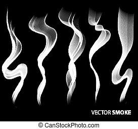 realistico, fumo nero, fondo, set, vettore