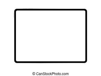 realistico, illustrazione, vettore, orizzontale, computer, isolato, schermo, nero, tavoletta, moderno, background.mockup, bianco, vuoto