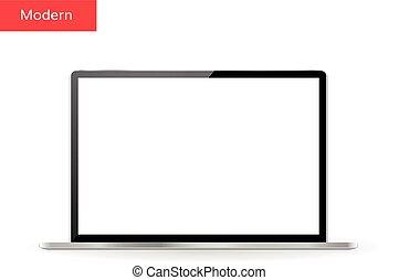 realistico, laptop, disegno, schermo, vuoto