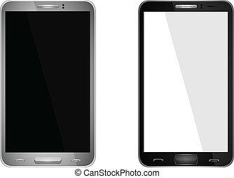 realistico, mobile, schermo, vuoto, isolato, telefono, vettore, bianco