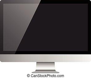 realistico, monitor computer, desktop, mockup