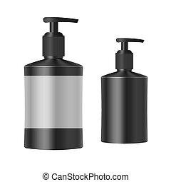 realistico, nero, sapone, bottiglia