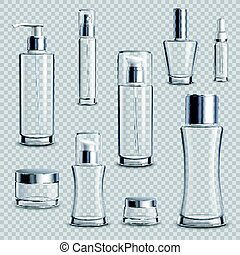 realistico, pacchetto, set, cosmetica, trasparente