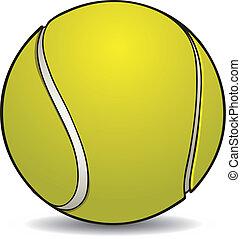 realistico, palla tennis, con, contorno