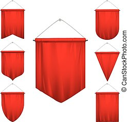 realistico, pennants, set, rosso