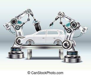 realistico, robotic, composizione, braccio