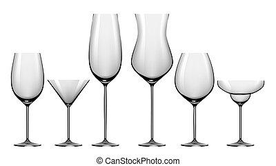 realistico, set, alcool, occhiali, bibite