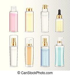 realistico, set, bottiglie, cosmetica