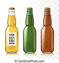 realistico, set, bottles., vetro
