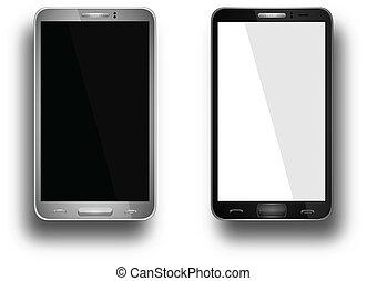 realistico, telefono mobile, con, schermo vuoto, isolato, bianco, vettore