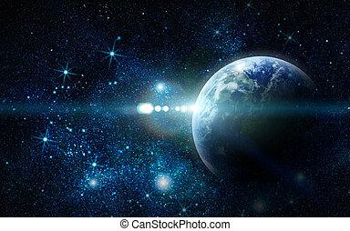 realistico, terra pianeta, in, spazio