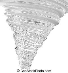 realistico, tornado, isolato, interpretazione, fondo, turbine, bianco, 3d