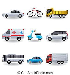 realistico, trasporto, icone, set