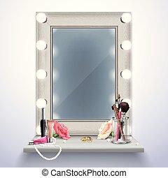 realistico, trucco, composizione, specchio