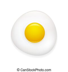 realistico, uovo fritto, icona