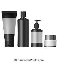 realistico, vasi, set, nero, cosmetico