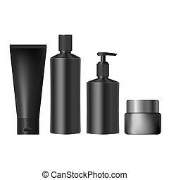 realistico, vasi, set, nero