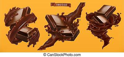 realistico, vettore, 3d, splash., cioccolato
