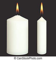 realistico, vettore, candele