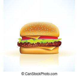 realistico, vettore, cheeseburger, delizioso