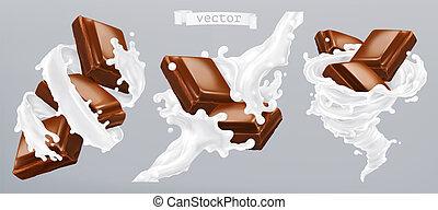 realistico, vettore, cioccolato, icona, latte, 3d