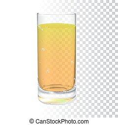 realistico, vettore, limonata, vetro