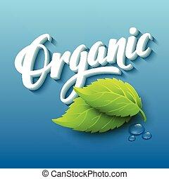 realistico, vettore, organico, illustrazione, logo.