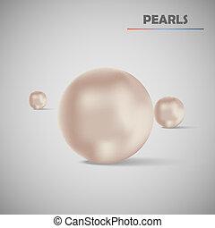 realistico, vettore, set, perle