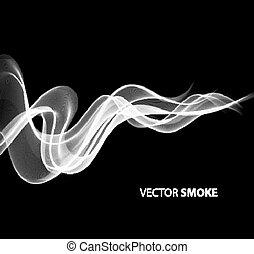 realistico, vettore, sfondo nero, fumo