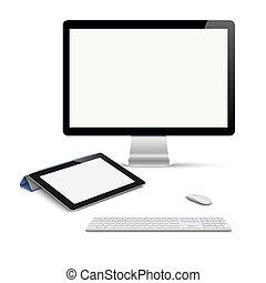realistico, vettore, tavoletta, computer, monitor, con, tastiera, e, topo