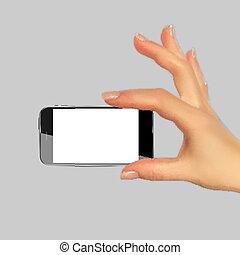 realistisch, 3d, silhouette, van, hand, met, beweeglijk, telefoon., vector, illustratie