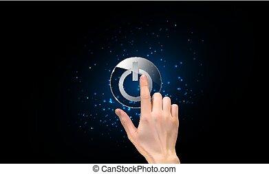 realistisch, 3d, silhouette, van, hand, met, vinger, dringend, een, macht, button., vector, illustratie