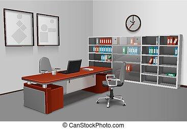 realistisch, büro- innere