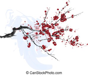 realistisch, blüte, baum, freigestellt, hintergrund., sakura, weißes