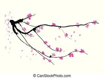 realistisch, blüte, baum, -, japanisches , freigestellt, hintergrund., sakura, kirschen, weißes