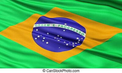 realistisch, brazilië vlag, in de wind