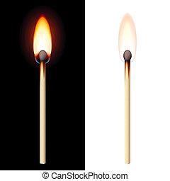 realistisch, brennender, streichholz