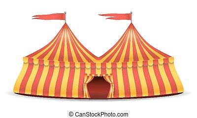 realistisch, circustent, vector., rood en geel, stripes., spotprent, groot bovenst, circustent, illustratie