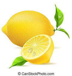 realistisch, citroen, en, helft, met, bladeren