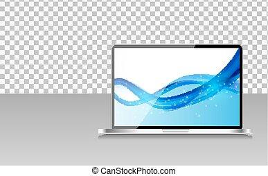 realistisch, computer, draagbare computer, met, abstract, behang, op, scherm, op, transperent, achtergrond., vector, illustratie