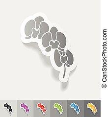 realistisch, design, element., orchidee