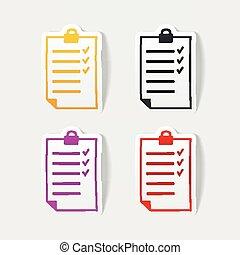 realistisch, design, liste, element.