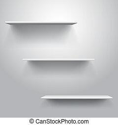 realistisch, drievoudig, boekenplank, mal, vector