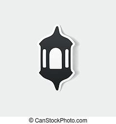 realistisch, element:, ontwerp, lantaarntje